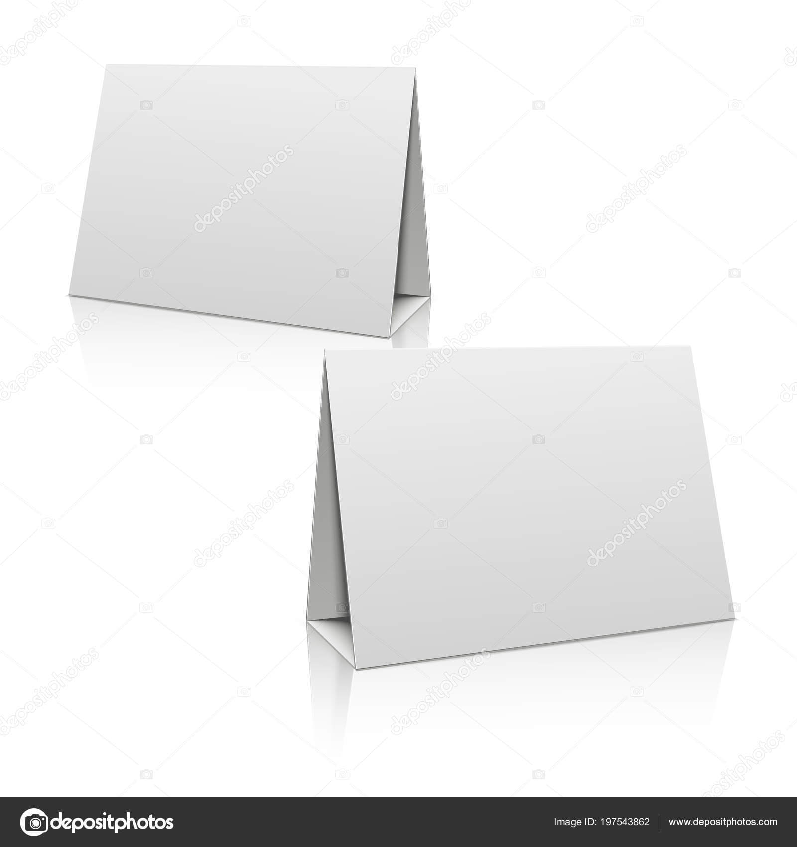 Paper Stand Template | Blank White Paper Stand Table Holder With Card Stand Template