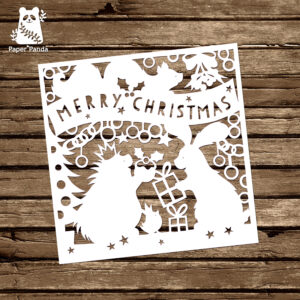 Papercut Diy Design Template – 'woodland Friends Christmas With Diy Christmas Card Templates