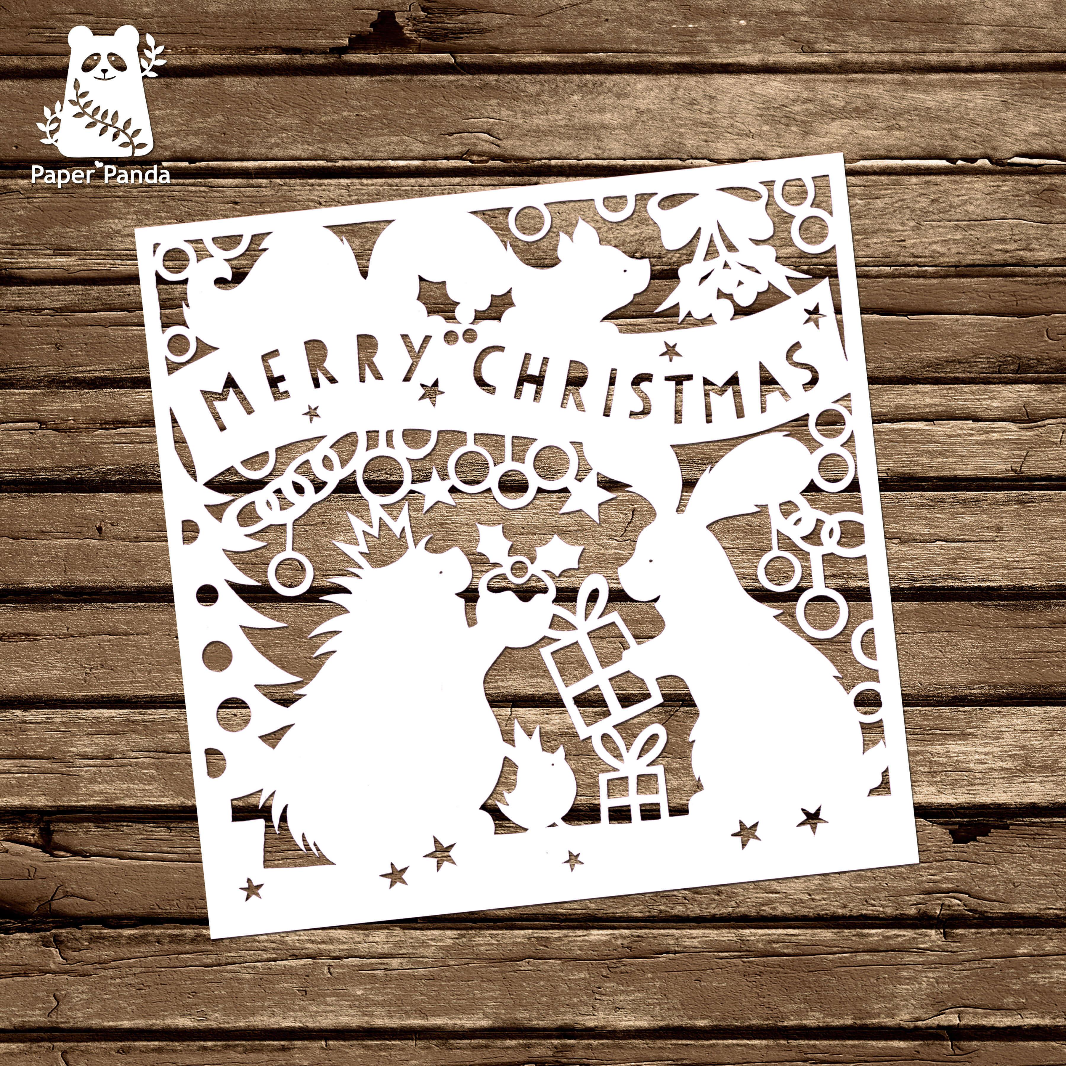Papercut Diy Design Template – 'woodland Friends Christmas With Diy Christmas Card Templates