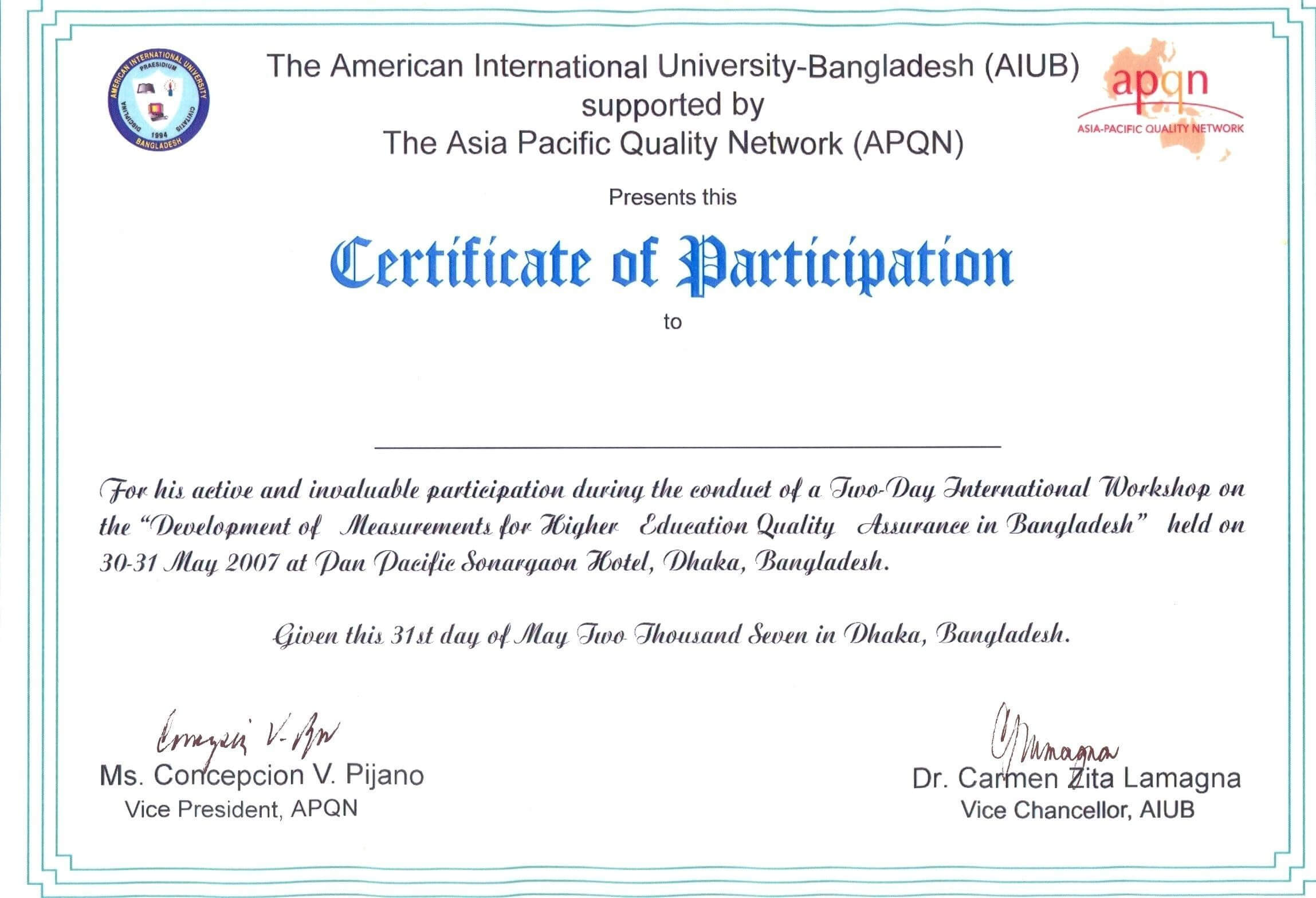 Participation Certificate Template Word Throughout Templates For Certificates Of Participation