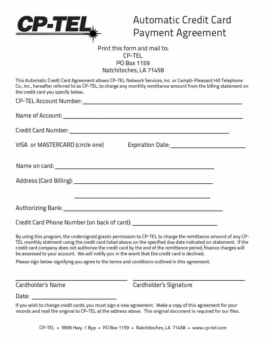 Payment Agreement – 40 Templates & Contracts ᐅ Template Lab Regarding Corporate Credit Card Agreement Template