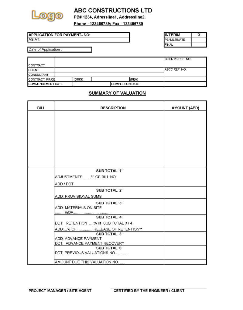 Payment Application Format For Construction Companies With Regard To Construction Payment Certificate Template