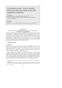 Pdf) Construction Works: Defects Liability Before And After with regard to Practical Completion Certificate Template Jct