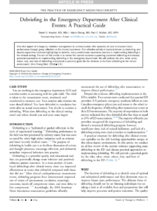 Pdf) Debriefing In The Emergency Department After Clinical within Event Debrief Report Template
