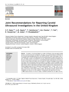 Pdf) Joint Recommendations For Reporting Carotid Ultrasound inside Carotid Ultrasound Report Template