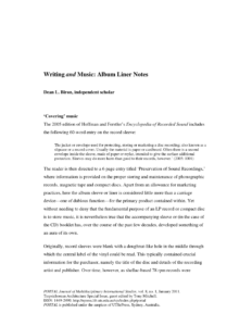 Pdf) Writing And Music: Album Liner Notes with regard to Cd Liner Notes Template Word