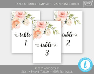 Peach + Blush Pink Floral Wedding Table Numbers, Watercolor in Table Number Cards Template