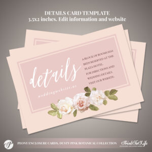 Peony Details Card, Wedding Information Card #dusty Pink Botanical  Collection intended for Wedding Hotel Information Card Template