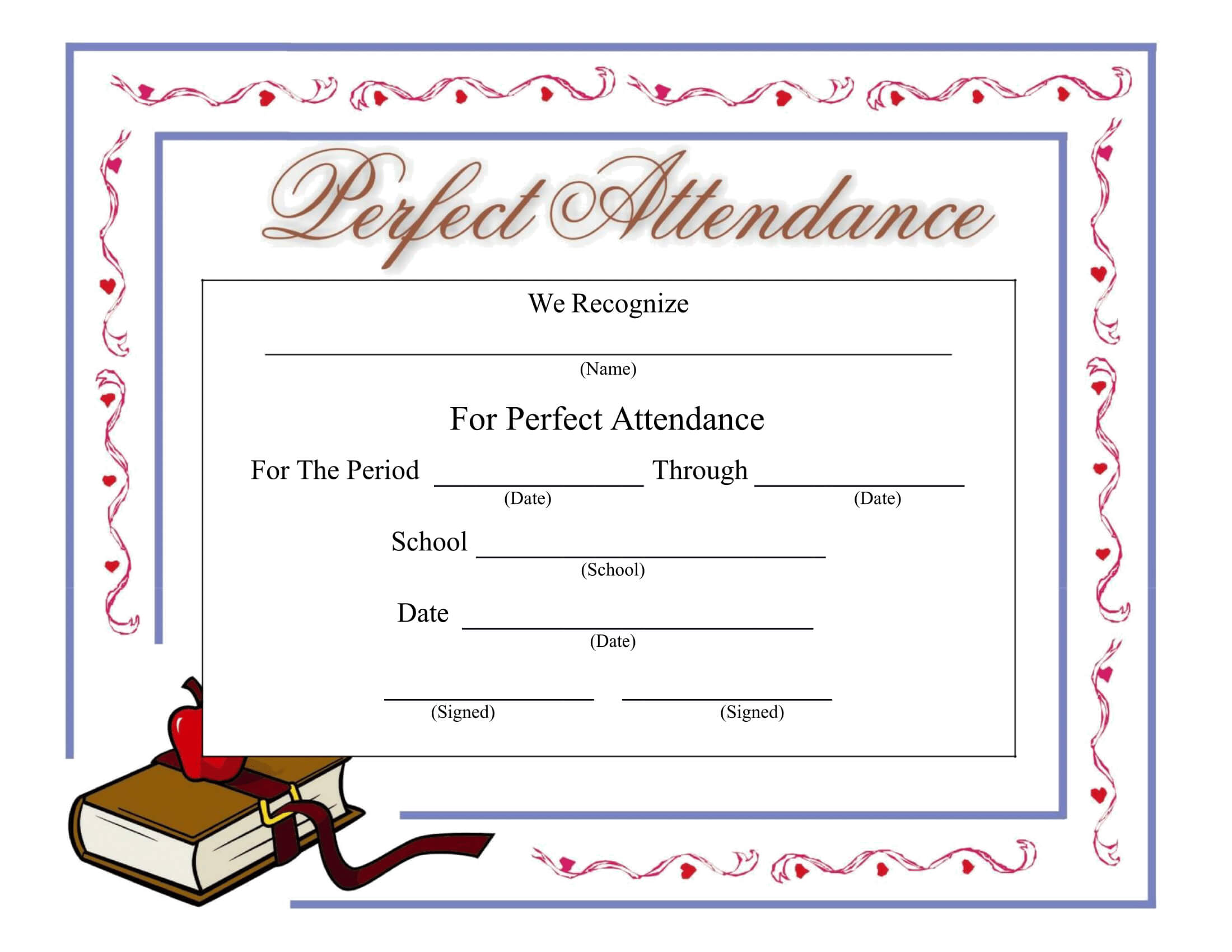 Perfect Attendance Certificate - Download A Free Template Within Perfect Attendance Certificate Free Template