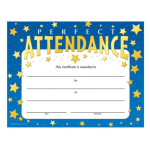 Perfect Attendance Stars Design Gold Foil-Stamped Certificate in Promotion Certificate Template