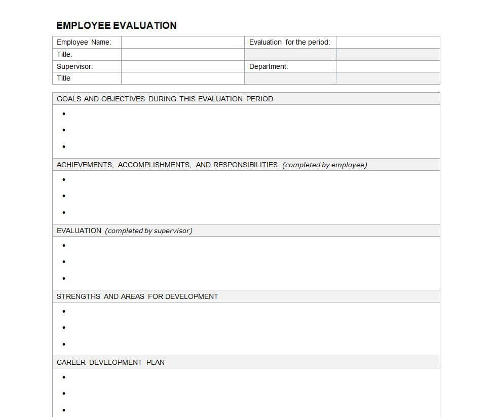 Performance Evaluation Template | Human Resource | Employee For Blank Evaluation Form Template