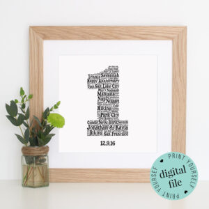 Personalised 1St Anniversary Gift – Word Art – Printable With Word Anniversary Card Template