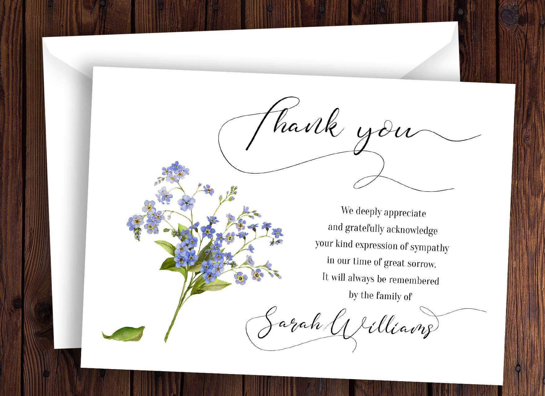 Personalized Funeral Thank You Card Sympathy Thank You Card Regarding Sympathy Thank You Card Template