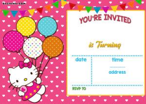 Personalized Hello Kitty Birthday Invitations – | Ayeza's inside Hello Kitty Birthday Banner Template Free