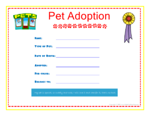 Pet Adoption Certificate For The Kids To Fill Out About inside Toy Adoption Certificate Template