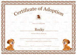 Pet Adoption Certificate Template with Pet Adoption Certificate Template