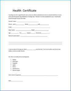 Pet Health Certificate Template #7127 within Veterinary Health Certificate Template