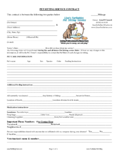 Pet Sitting Contract Templates | Dogs | Pet Sitting Services regarding Dog Grooming Record Card Template