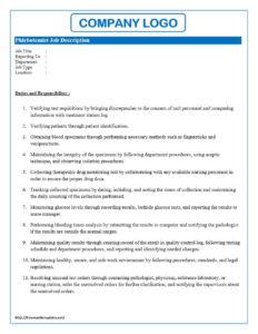 Phlebotomist Job Description Intended For Job Descriptions Template Word