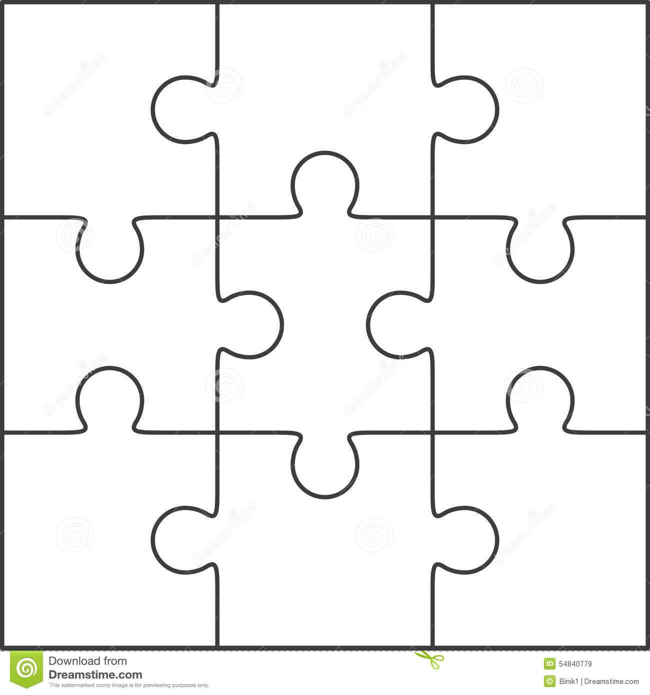 Photo About Jigsaw Puzzle , Blank Simple Template 3X3 In Blank Jigsaw Piece Template