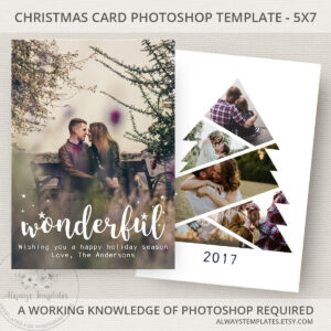 Photo Christmas Card Template, Christmas Tree Card Template with Holiday Card Templates For Photographers