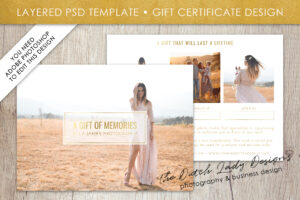 Photography Gift Certificate Template – Photo Gift Card – Layered .psd  Files – Design #31 With Gift Certificate Template Photoshop