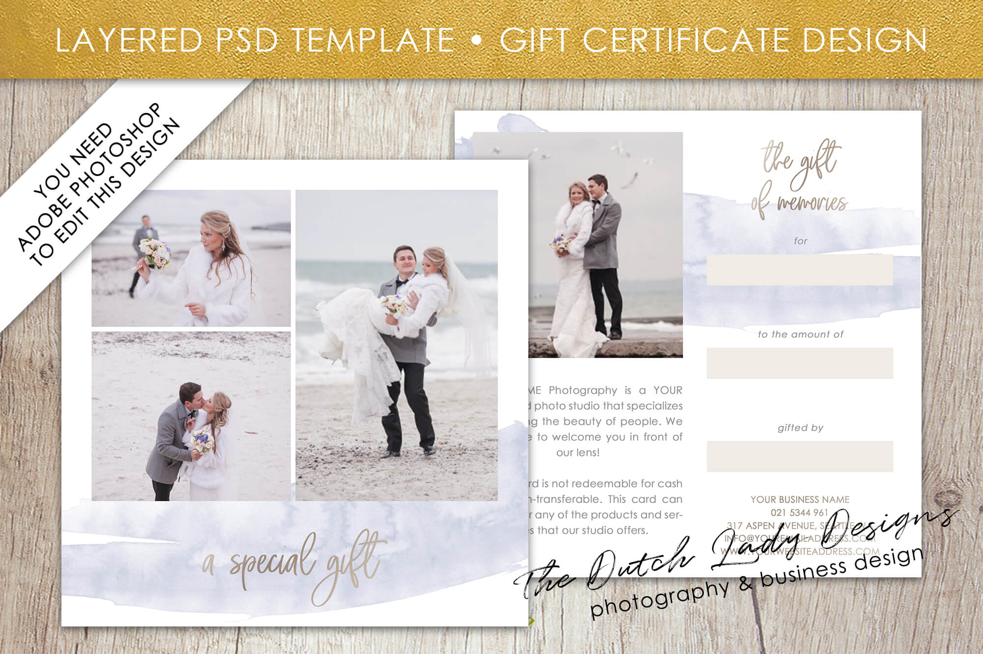 Photography Gift Certificate Template – Photo Gift Card – Layered .psd  Files – Design #42 For Gift Certificate Template Photoshop