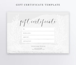 Photography Gift Certificate Template – Psd 4X6 – Editable – Instant  Download – Gift Card – Photographer Regarding Photoshoot Gift Certificate Template
