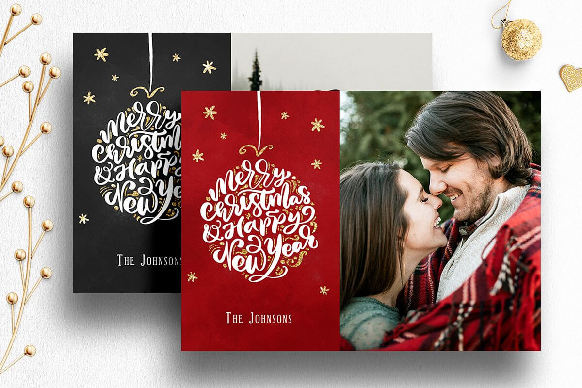 Photoshop Christmas Card Template For Photographers - 012 For Holiday Card Templates For Photographers