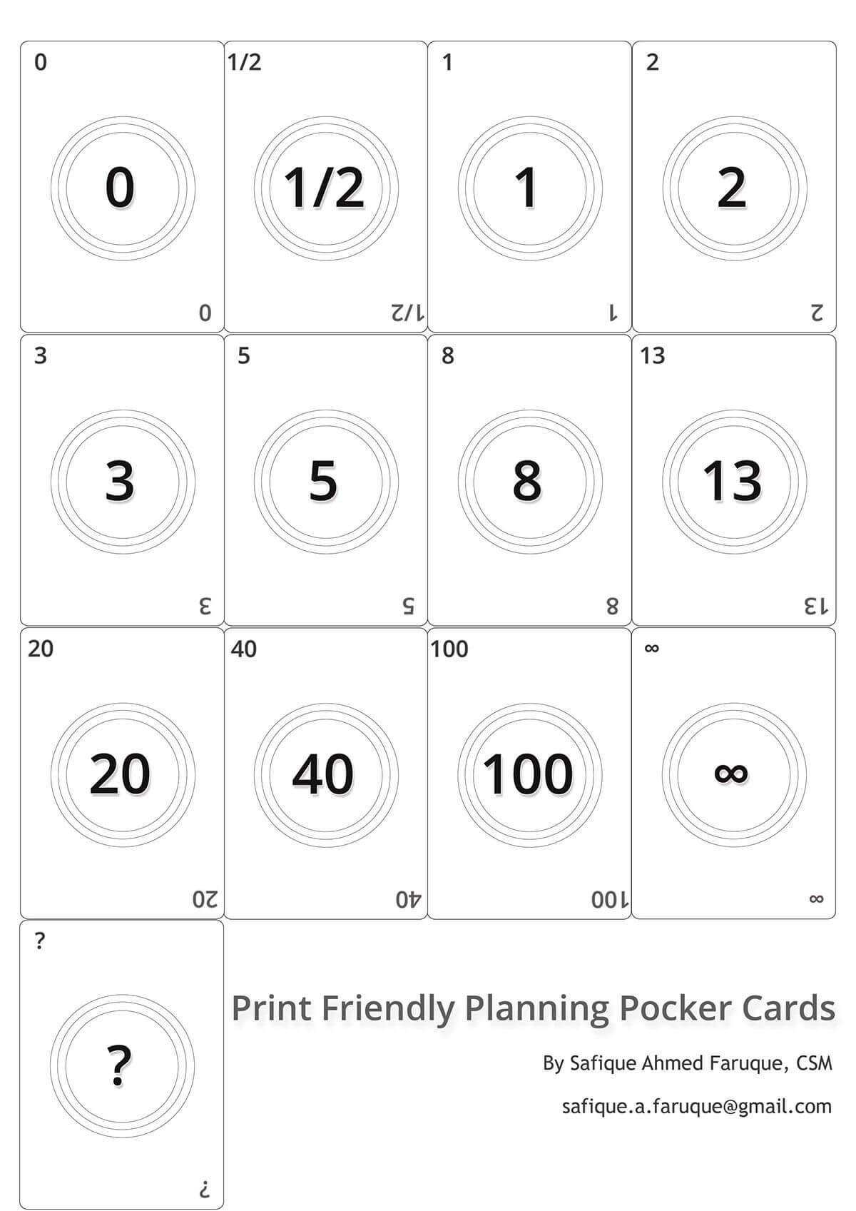 Picture: Agile Planning Poker Cards. Black And White Print With Planning Poker Cards Template