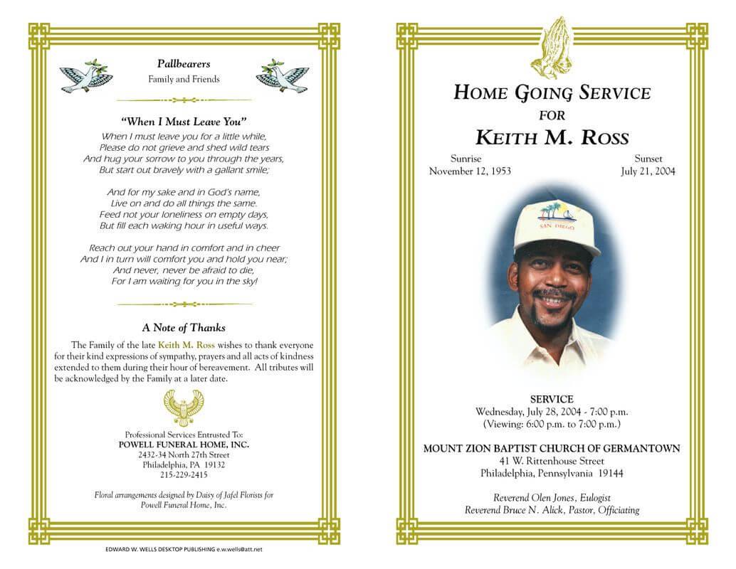 Pineva On Eva Williams | Funeral Program Template Free In Memorial Brochure Template