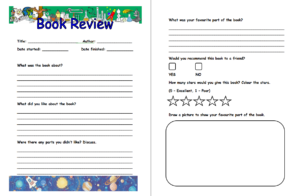 Pinjana Peek On Education | Book Review Template, Book for Book Report Template Grade 1