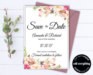 Pink Floral Save The Date Wedding Template Pink Floral Save inside Save The Date Cards Templates