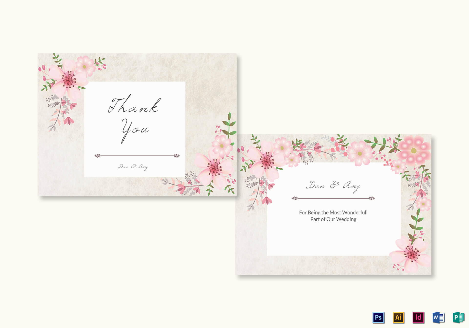 Pink Floral Thank You Card Template For Thank You Card Template Word
