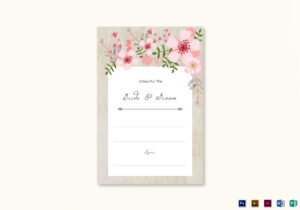 Pink Floral Wedding Advice Card Template For Marriage Advice Cards Templates