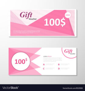 Pink Gift Voucher Template Layout Design Set pertaining to Pink Gift Certificate Template
