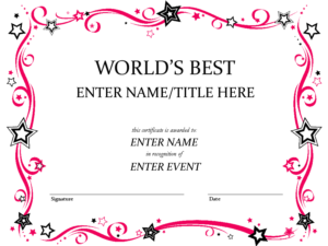 Pink-Girly-Certificate-Templates-Printable in Free Printable Funny Certificate Templates