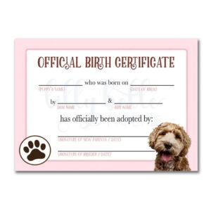 Pink Goldendoodle Birth Certificate | Animal Certificates regarding Pet Adoption Certificate Template