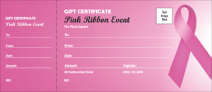 Pink Ribbon Gift Certificate pertaining to Pink Gift Certificate Template