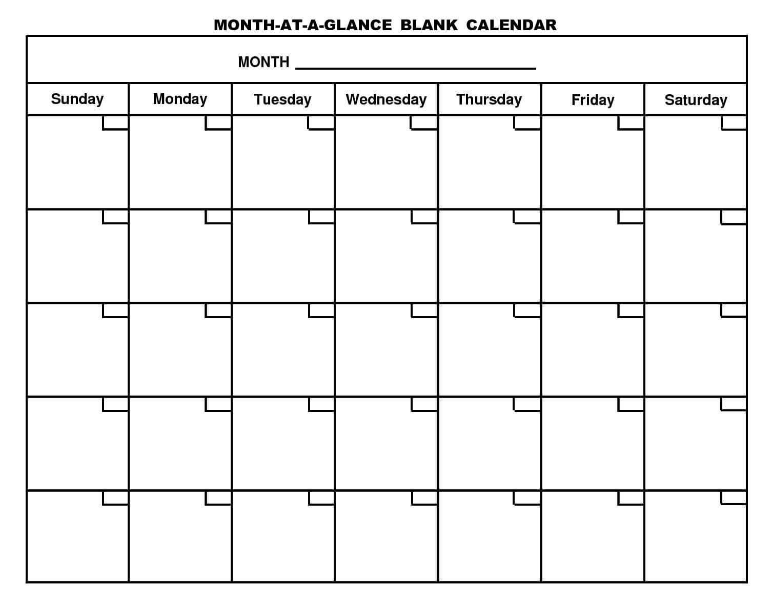 Pinstacy Tangren On Work | Blank Monthly Calendar Throughout Month At A Glance Blank Calendar Template