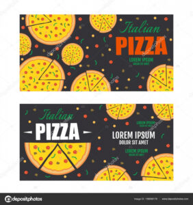 Pizza Flyer Vector Template. Two Pizza Banners. Gift Voucher With Pizza Gift Certificate Template
