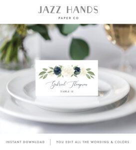 Place Card Template, Escort Card Template, Printable Wedding with Place Card Setting Template