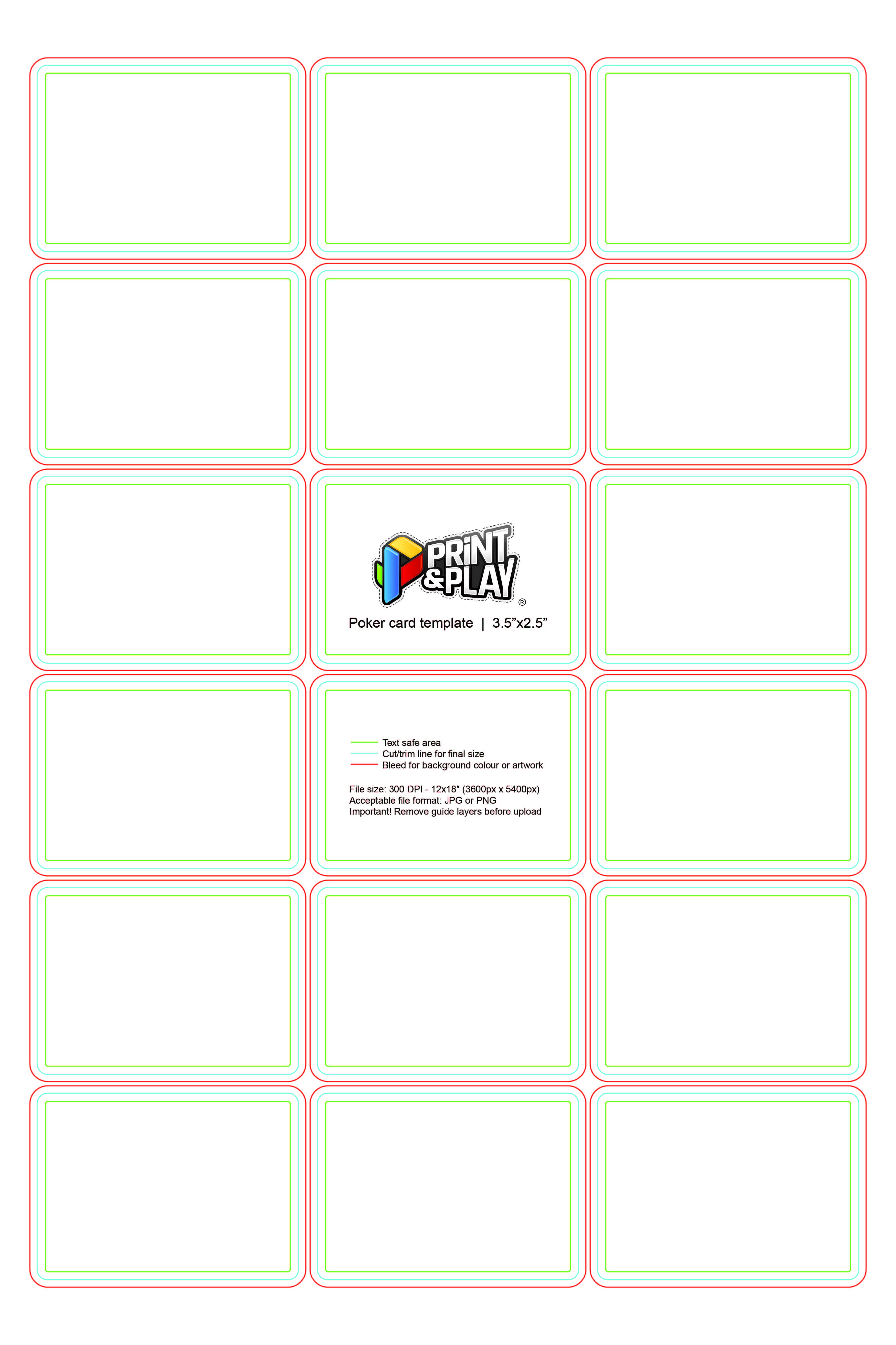 Playing Cards : Formatting & Templates - Print & Play In Mtg Card Printing Template