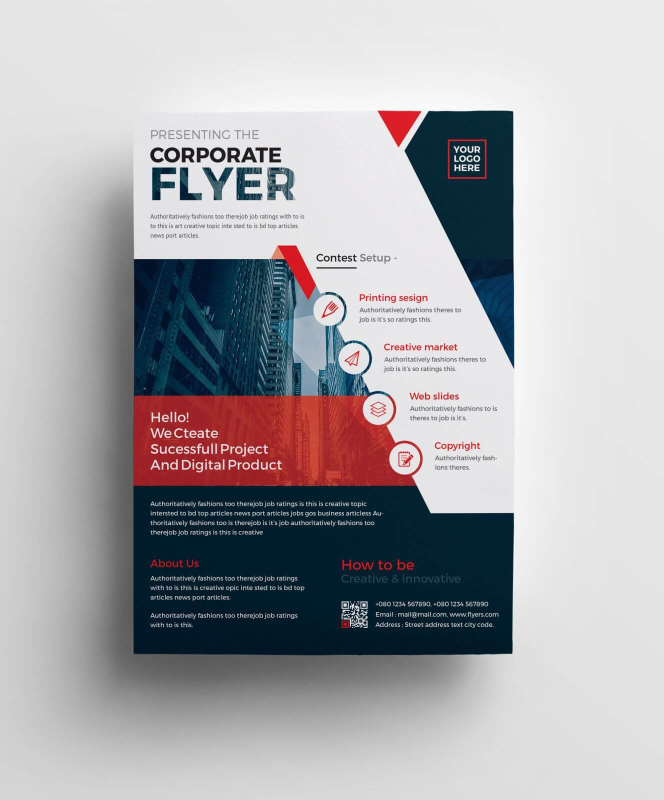 Plutus Professional Corporate Flyer Template 001008   Typo With Professional Brochure Design Templates
