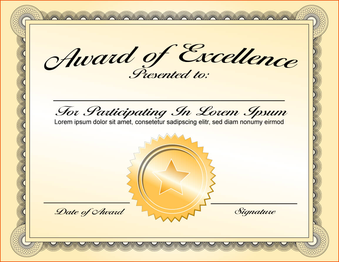 Award Of Excellence Certificate Template ...