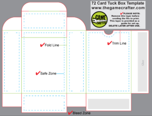 Poker Tuck Box (72 Cards) in Top Trump Card Template