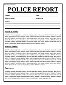 Police Report Templates – 8+ Free Blank Samples – Template for Blank Police Report Template