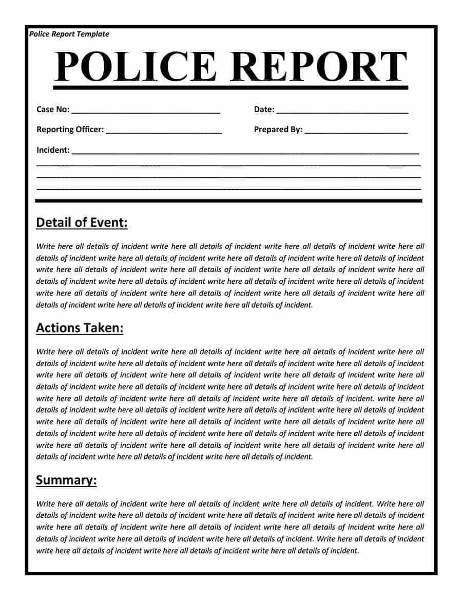 Police Report Templates – 8+ Free Blank Samples – Template Within Fake Police Report Template