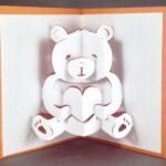 Pop Up Teddy Bear Card | Cute Bear Card | I Love You Card | Cute Love Card  | Anniversary Card | Kirigami Valentines Day Card Friendship Card Intended For Teddy Bear Pop Up Card Template Free