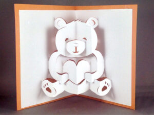 Pop Up Teddy Bear Card | Cute Bear Card | I Love You Card | Cute Love Card  | Anniversary Card | Kirigami Valentines Day Card Friendship Card intended for Teddy Bear Pop Up Card Template Free